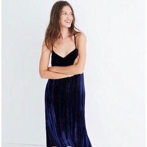 Madewell Blue Crushed Velvet Slip Dress